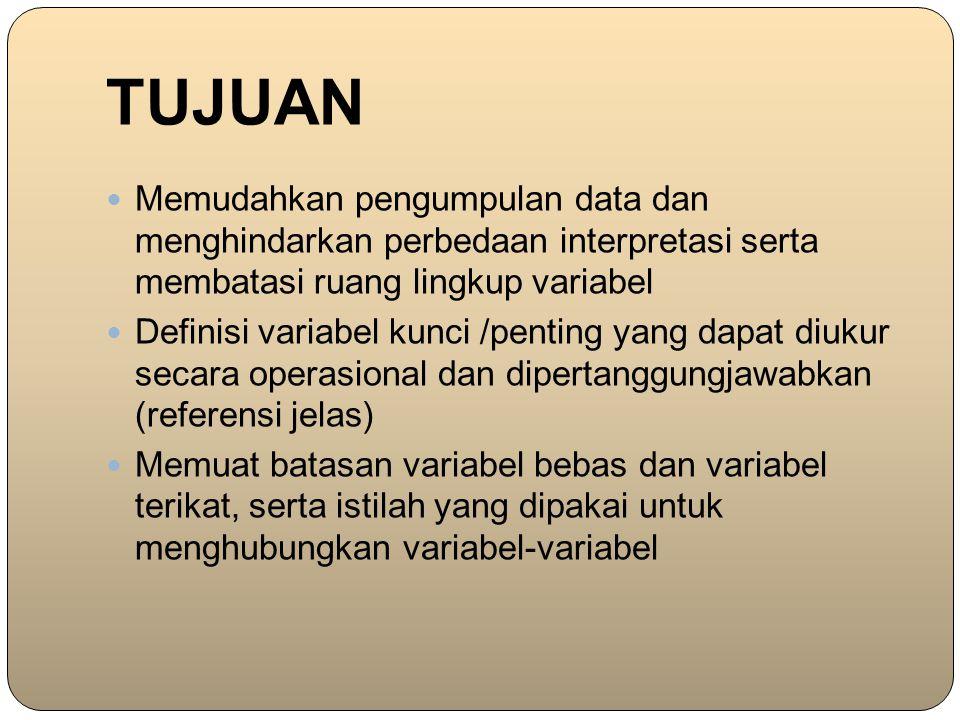 TUJUAN Memudahkan pengumpulan data dan menghindarkan perbedaan interpretasi serta membatasi ruang lingkup variabel.