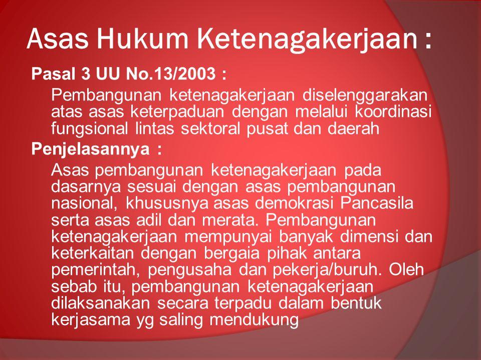 Asas Hukum Ketenagakerjaan :