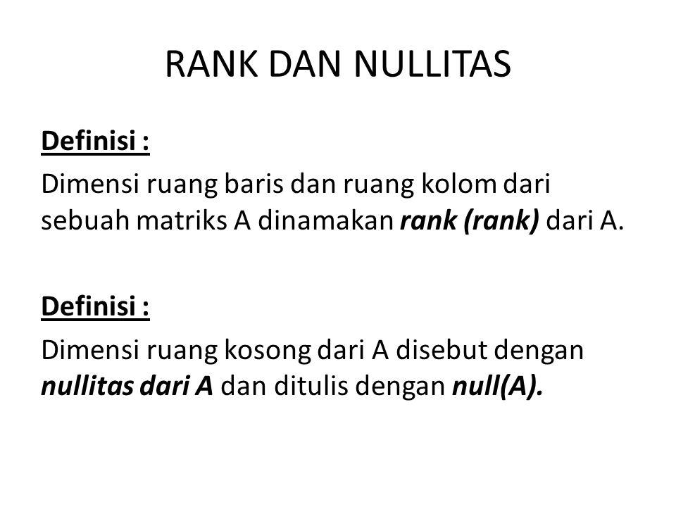 RANK DAN NULLITAS Definisi :