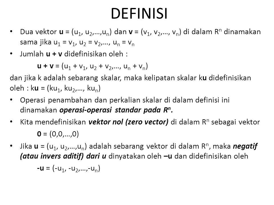 DEFINISI Dua vektor u = (u1, u2,…,un) dan v = (v1, v2,…, vn) di dalam Rn dinamakan sama jika u1 = v1, u2 = v2,…, un = vn.