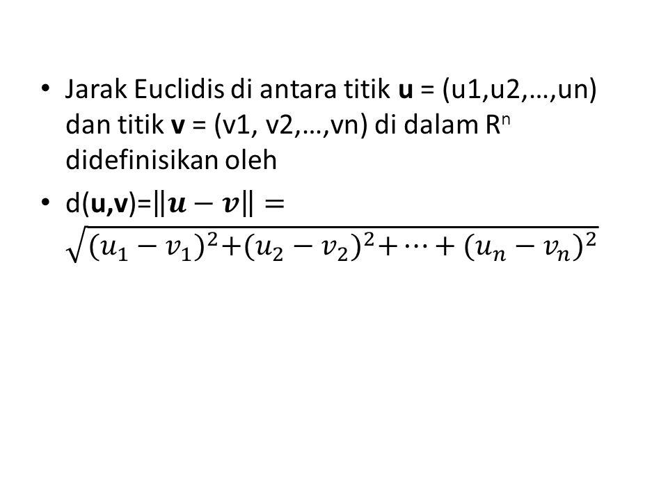 Jarak Euclidis di antara titik u = (u1,u2,…,un) dan titik v = (v1, v2,…,vn) di dalam Rn didefinisikan oleh