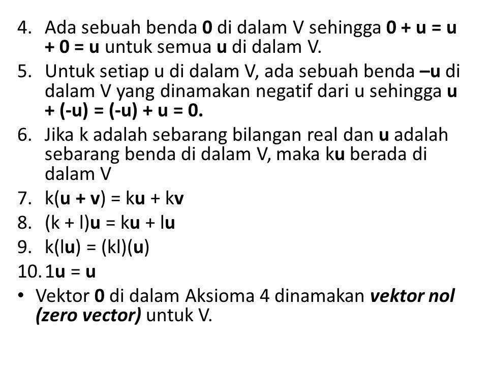 Ada sebuah benda 0 di dalam V sehingga 0 + u = u + 0 = u untuk semua u di dalam V.