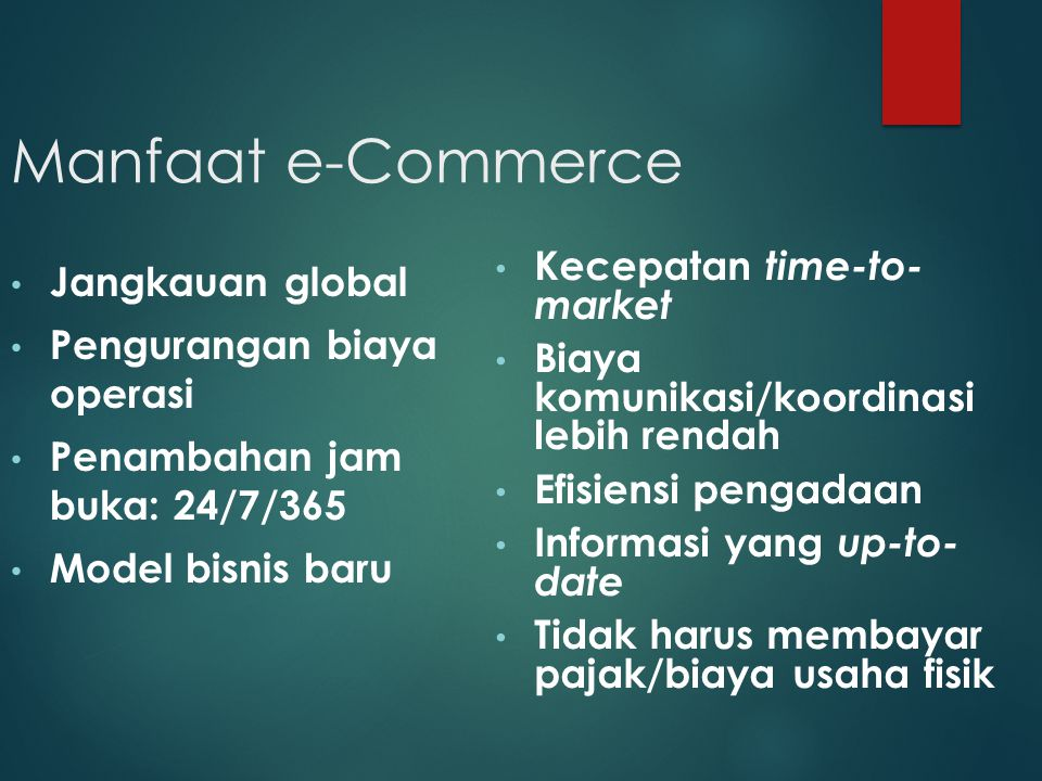 Manfaat e-Commerce Kecepatan time-to- market Jangkauan global