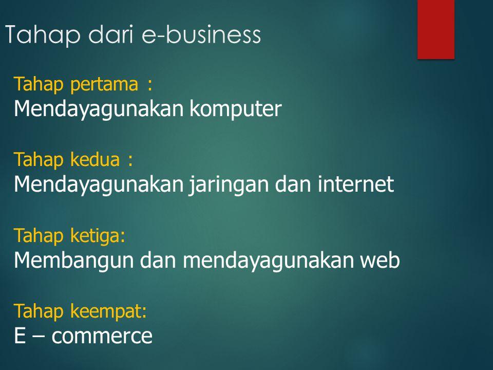 Tahap dari e-business Mendayagunakan komputer