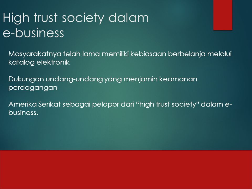 High trust society dalam e-business