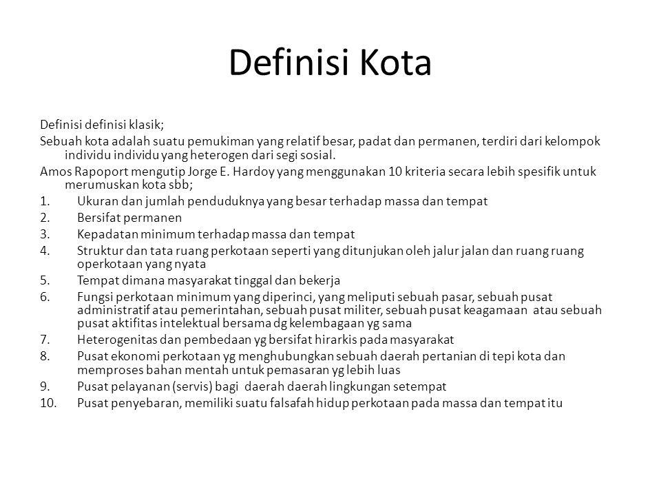 Definisi Kota Definisi definisi klasik;