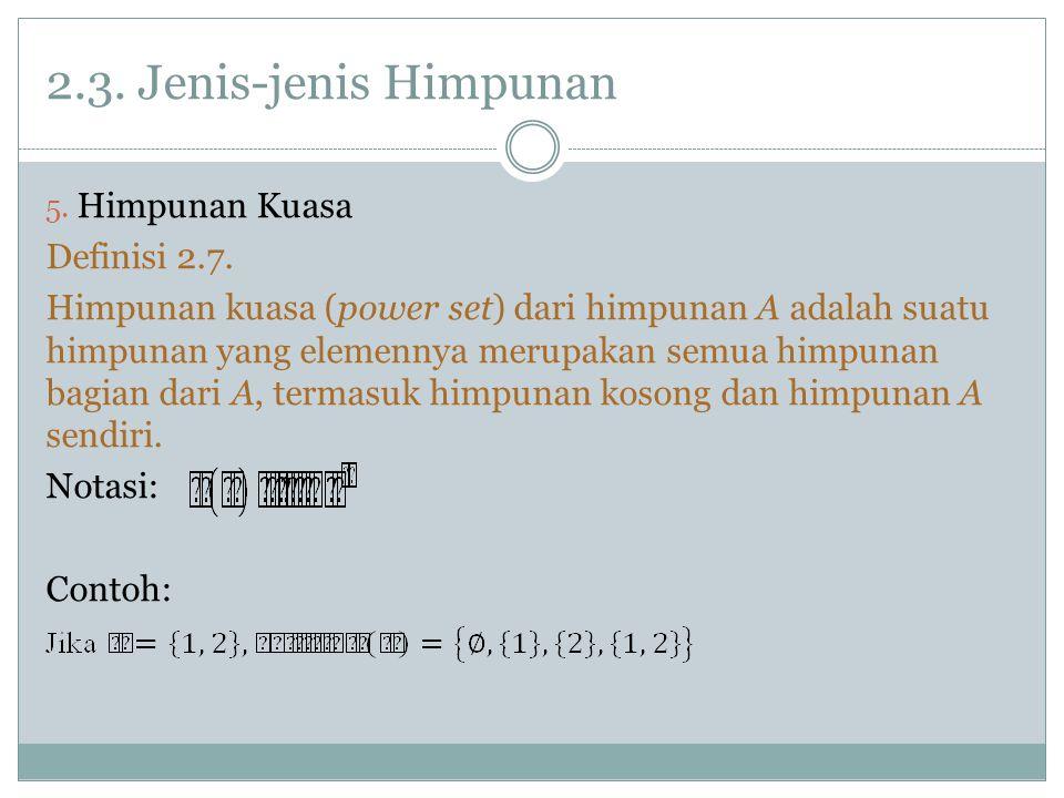 2.3. Jenis-jenis Himpunan Himpunan Kuasa Definisi 2.7.