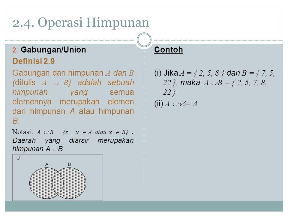 2.4. Operasi Himpunan Gabungan/Union Definisi 2.9