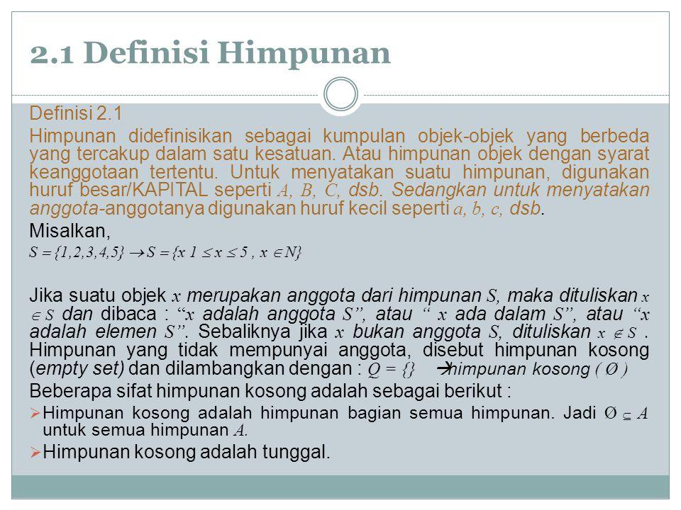 2.1 Definisi Himpunan Definisi 2.1