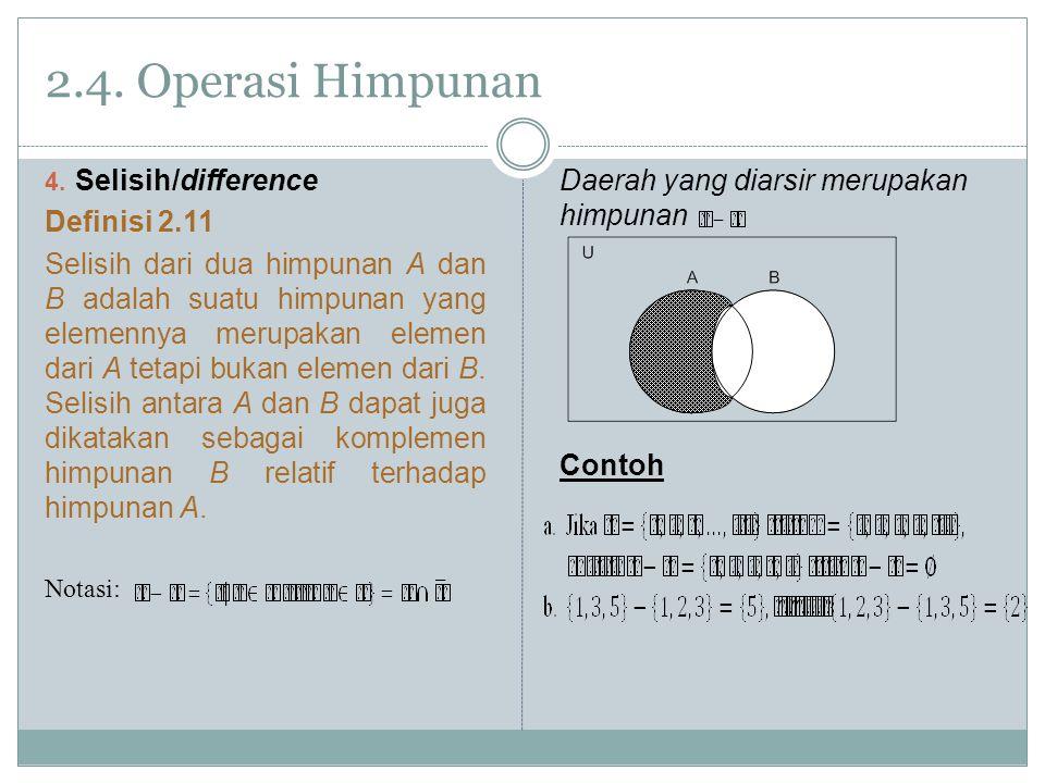 2.4. Operasi Himpunan Selisih/difference Definisi 2.11