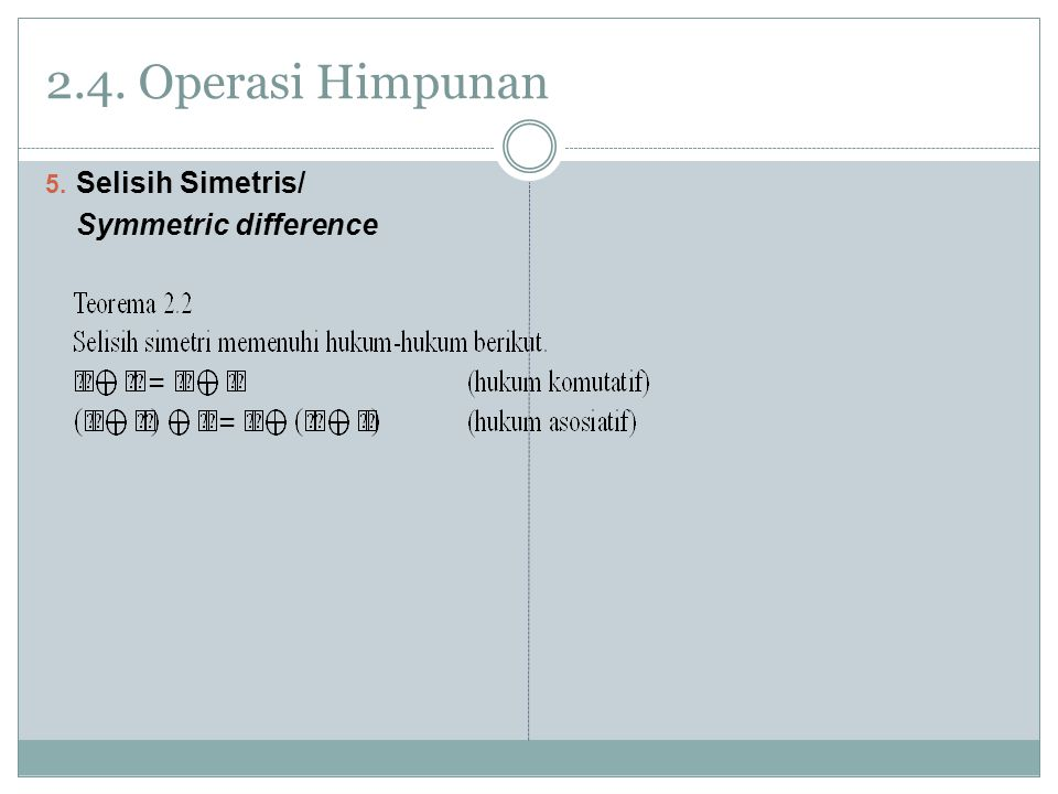 2.4. Operasi Himpunan Selisih Simetris/ Symmetric difference