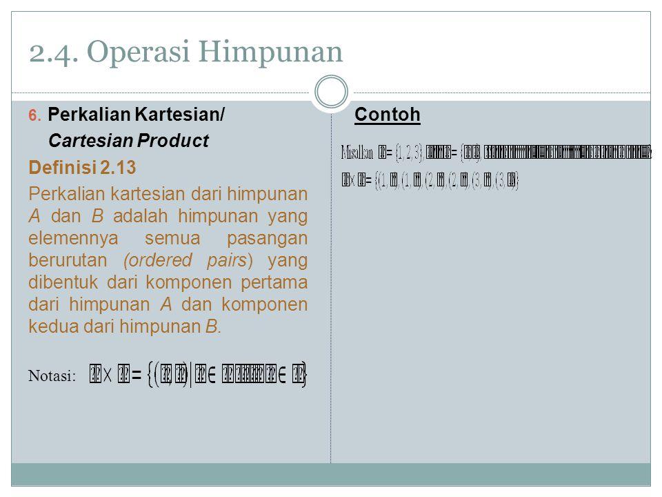 2.4. Operasi Himpunan Perkalian Kartesian/ Cartesian Product