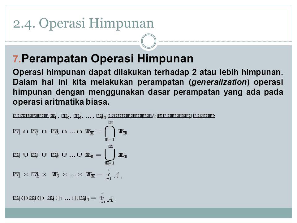 2.4. Operasi Himpunan Perampatan Operasi Himpunan