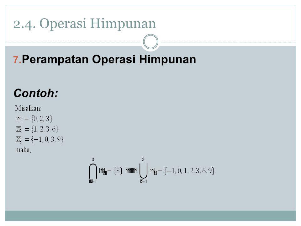 2.4. Operasi Himpunan Perampatan Operasi Himpunan Contoh: