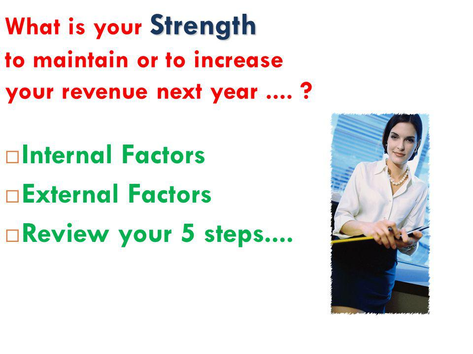 Internal Factors External Factors Review your 5 steps....