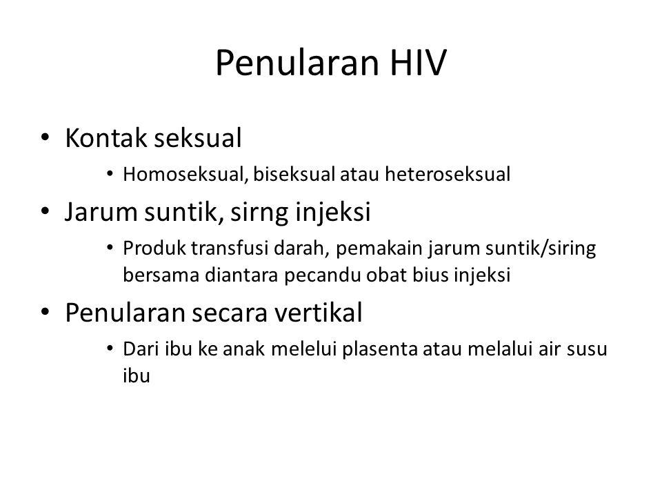 Penularan HIV Kontak seksual Jarum suntik, sirng injeksi