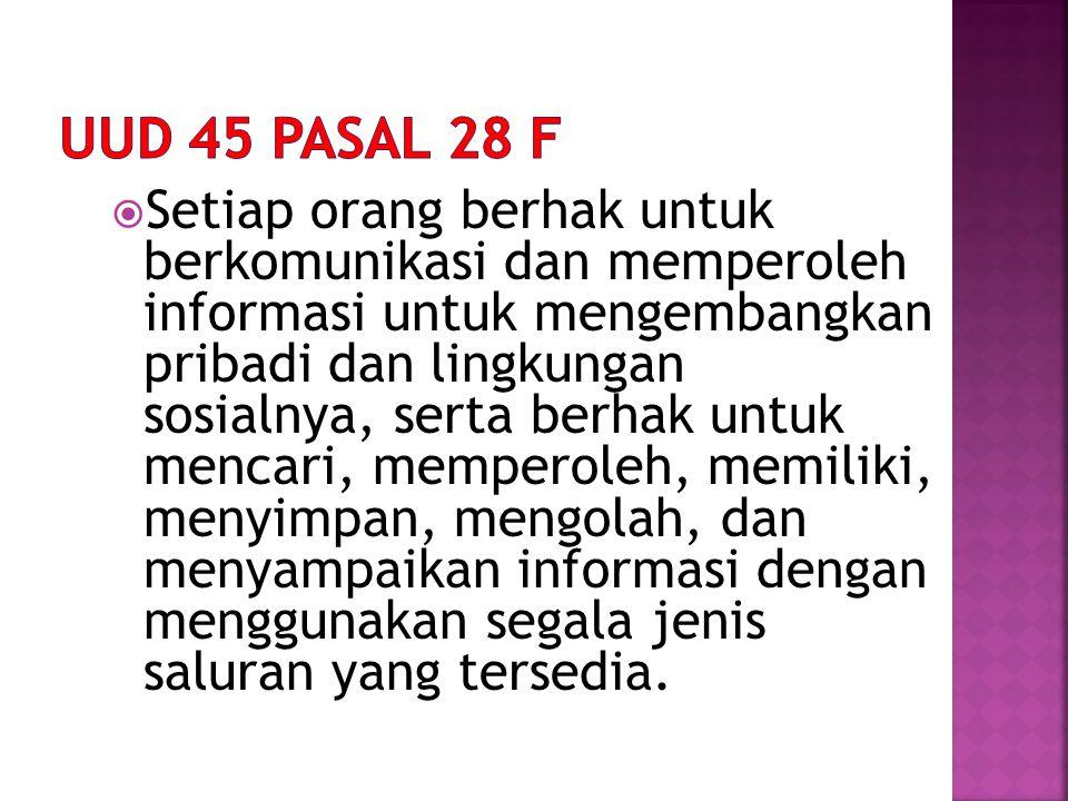 UUD 45 PASAL 28 F