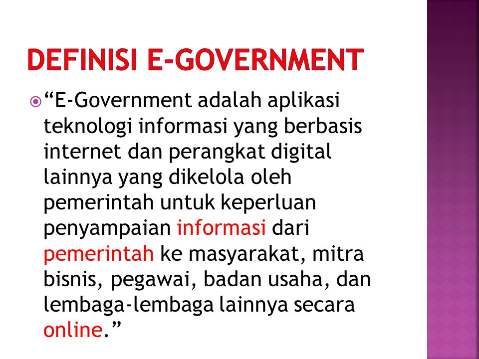 DEFINISI e-GOVERNMENT