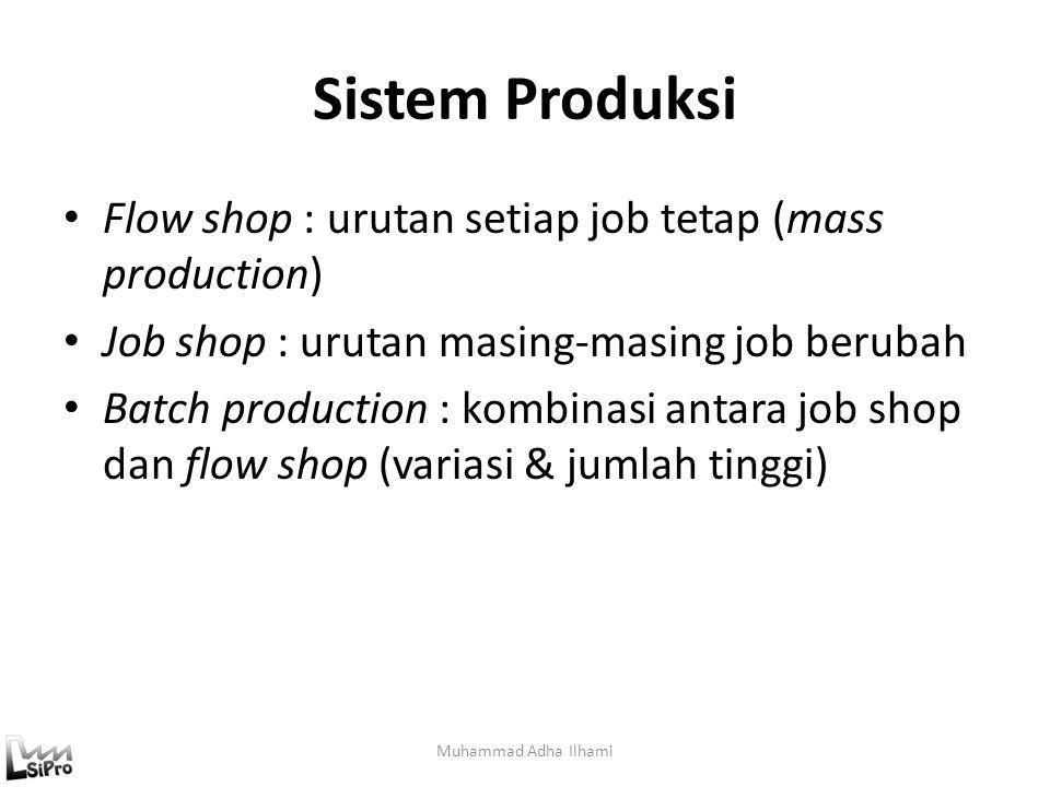 Sistem Produksi Flow shop : urutan setiap job tetap (mass production)