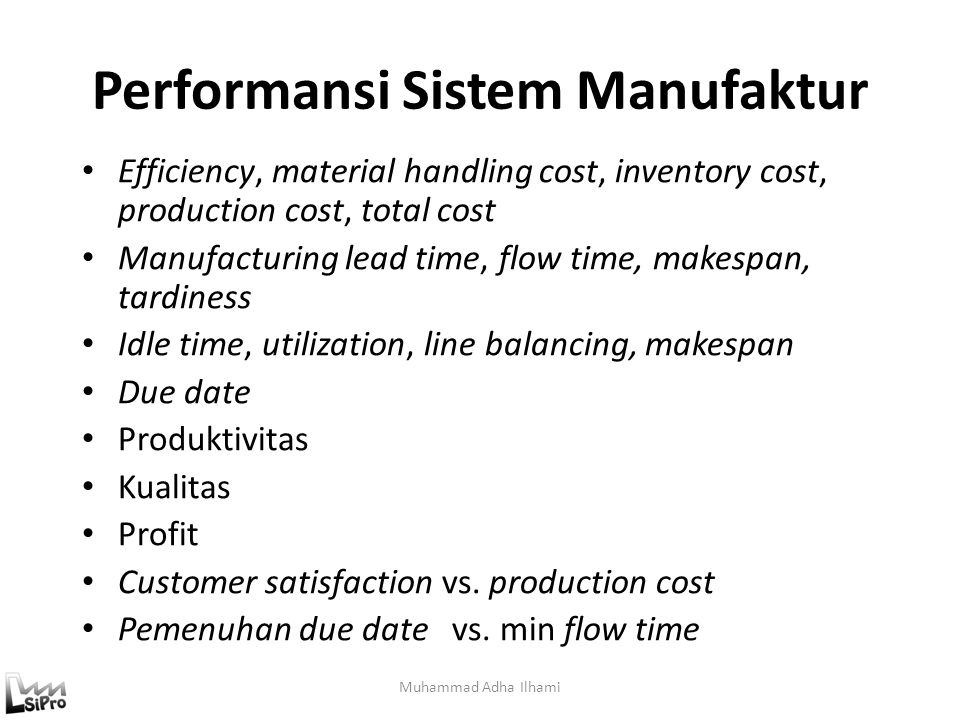 Performansi Sistem Manufaktur