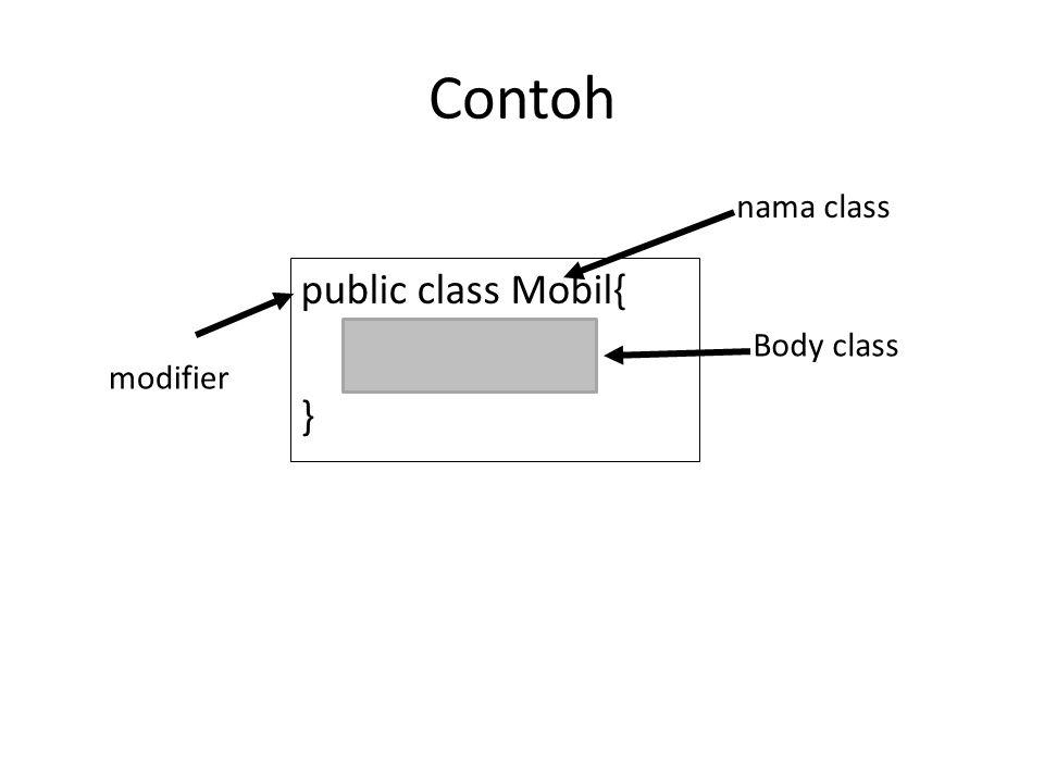 Contoh nama class public class Mobil{ } Body class modifier