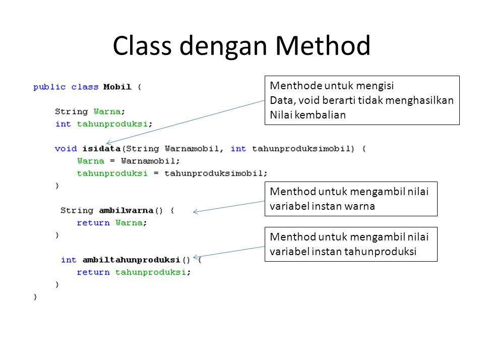 Class dengan Method Menthode untuk mengisi