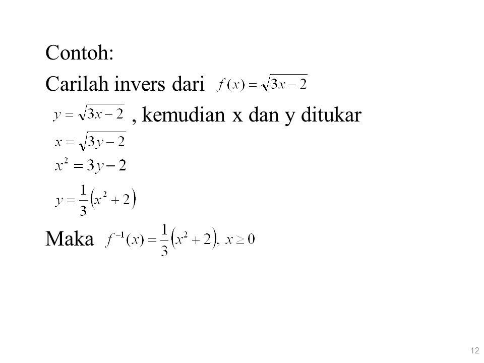 Contoh: Carilah invers dari , kemudian x dan y ditukar Maka