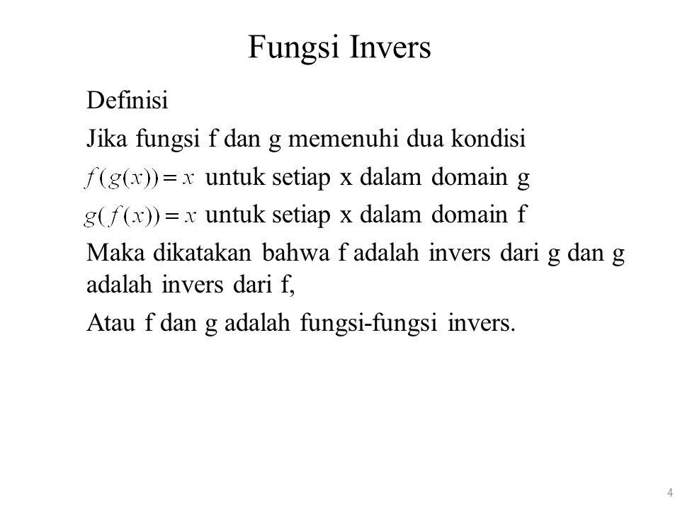 Fungsi Invers Definisi Jika fungsi f dan g memenuhi dua kondisi