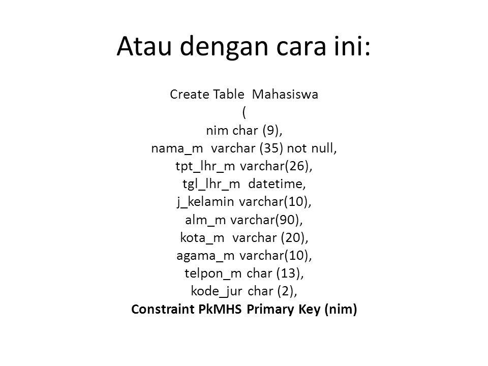 Atau dengan cara ini: Create Table Mahasiswa ( nim char (9),