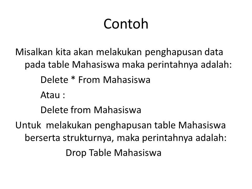 Contoh Misalkan kita akan melakukan penghapusan data pada table Mahasiswa maka perintahnya adalah: Delete * From Mahasiswa.