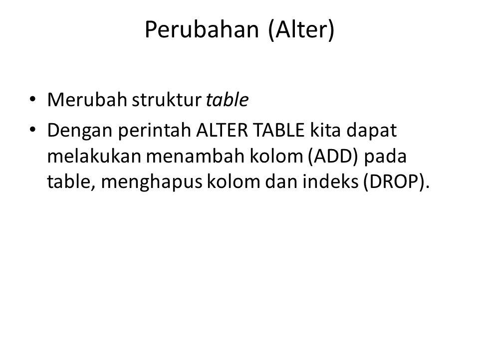 Perubahan (Alter) Merubah struktur table