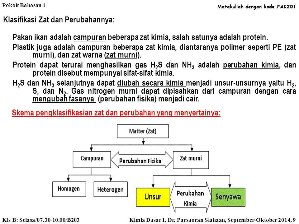 Klasifikasi Zat dan Perubahannya: