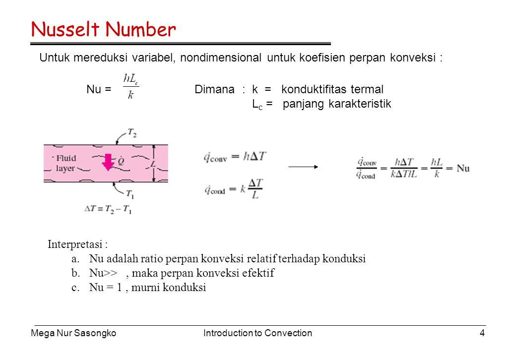 Nusselt Number Untuk mereduksi variabel, nondimensional untuk koefisien perpan konveksi : Nu = Dimana : k = konduktifitas termal.