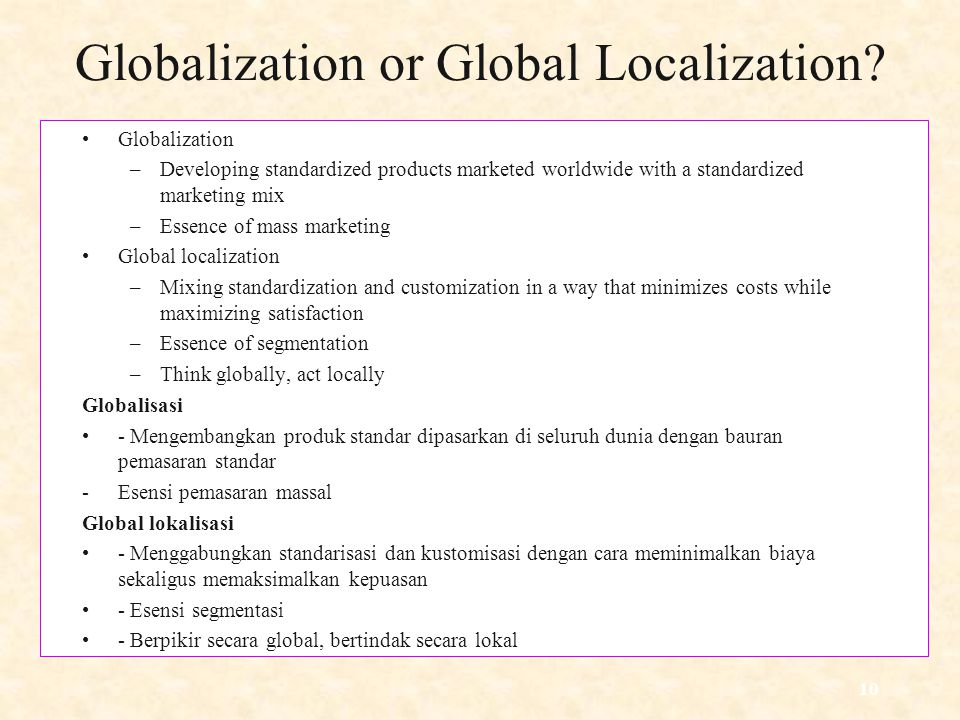 Globalization or Global Localization