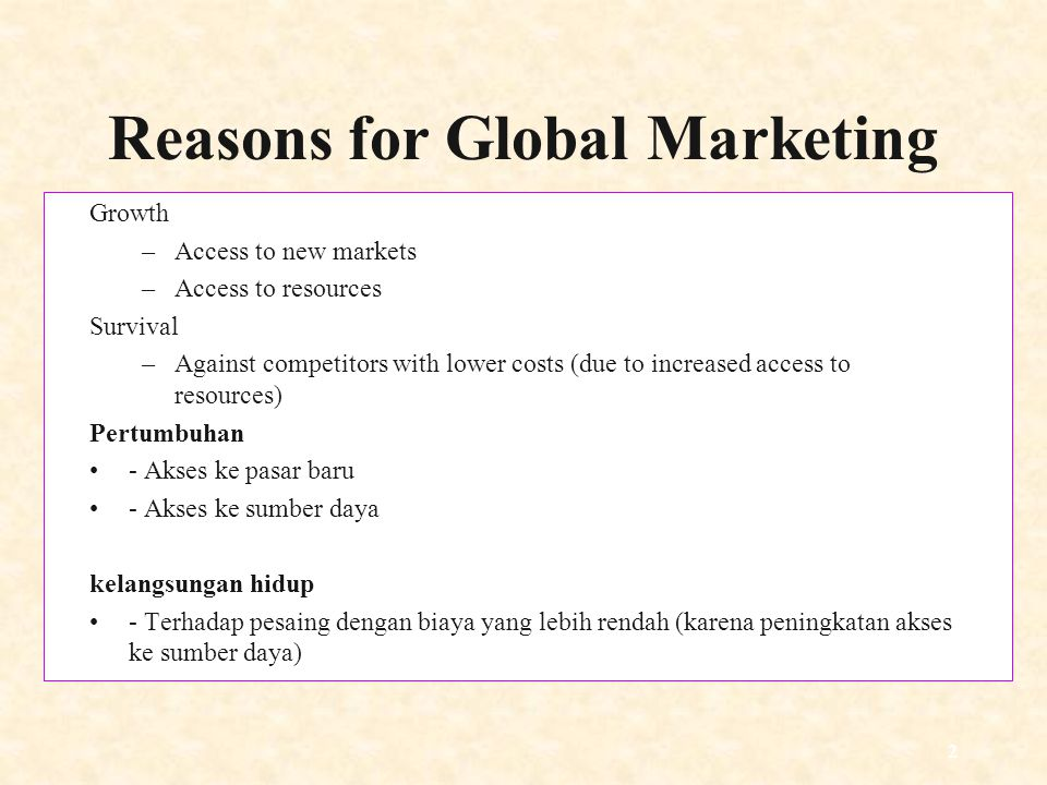 Reasons for Global Marketing