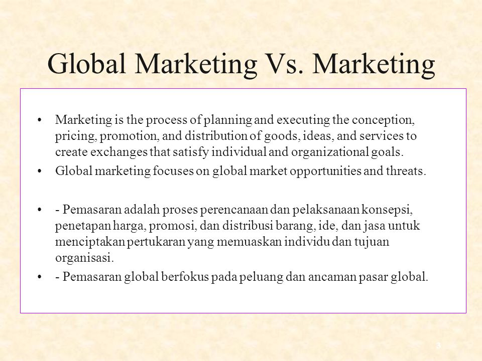 Global Marketing Vs. Marketing