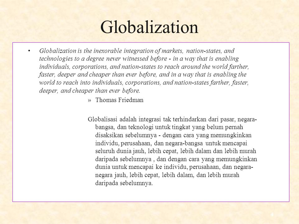 globalization as the inexorable integration of