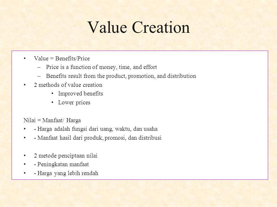 Value Creation Value = Benefits/Price