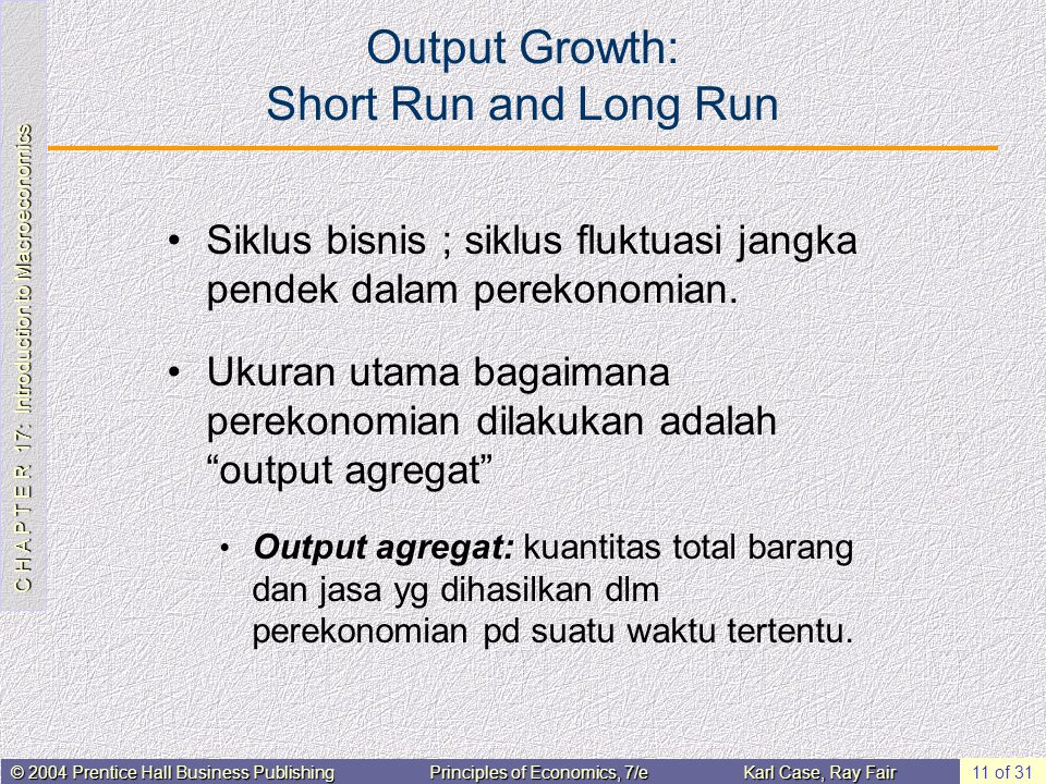 Output Growth: Short Run and Long Run