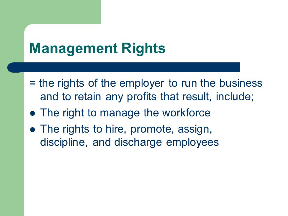 Management Rights = the rights of the employer to run the business and to retain any profits that result, include;