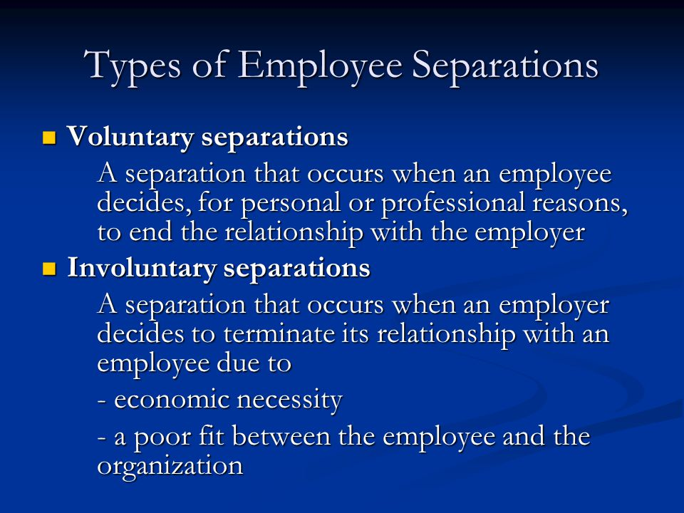 Types of Employee Separations