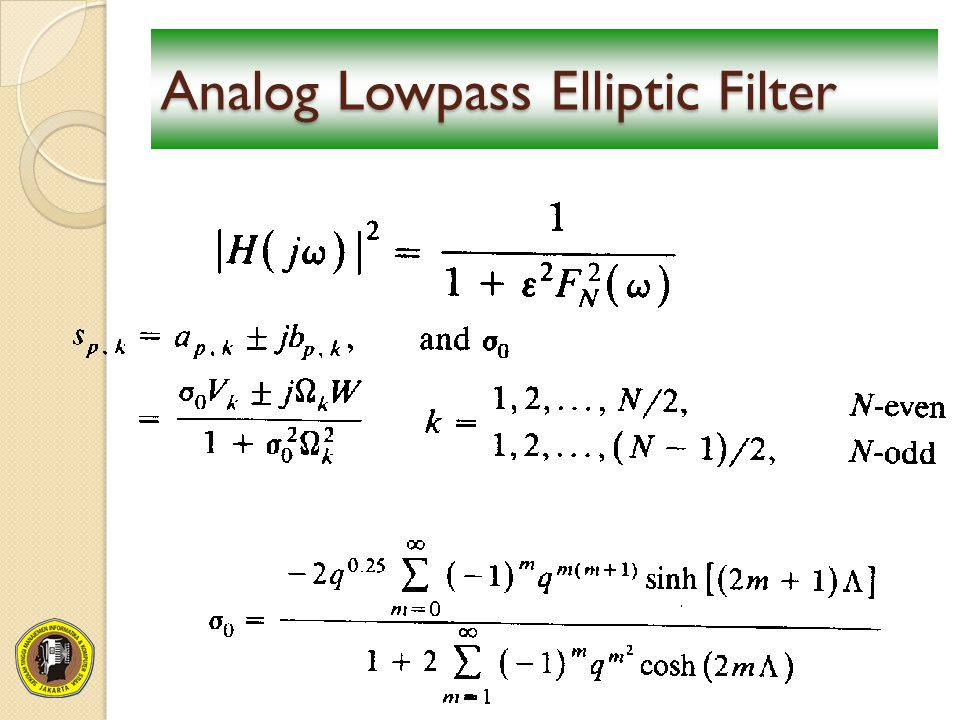 Analog Lowpass Elliptic Filter
