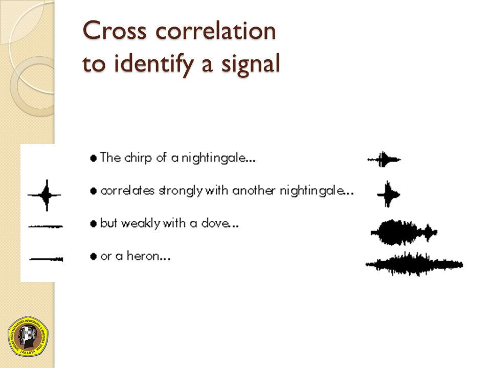 Cross correlation to identify a signal
