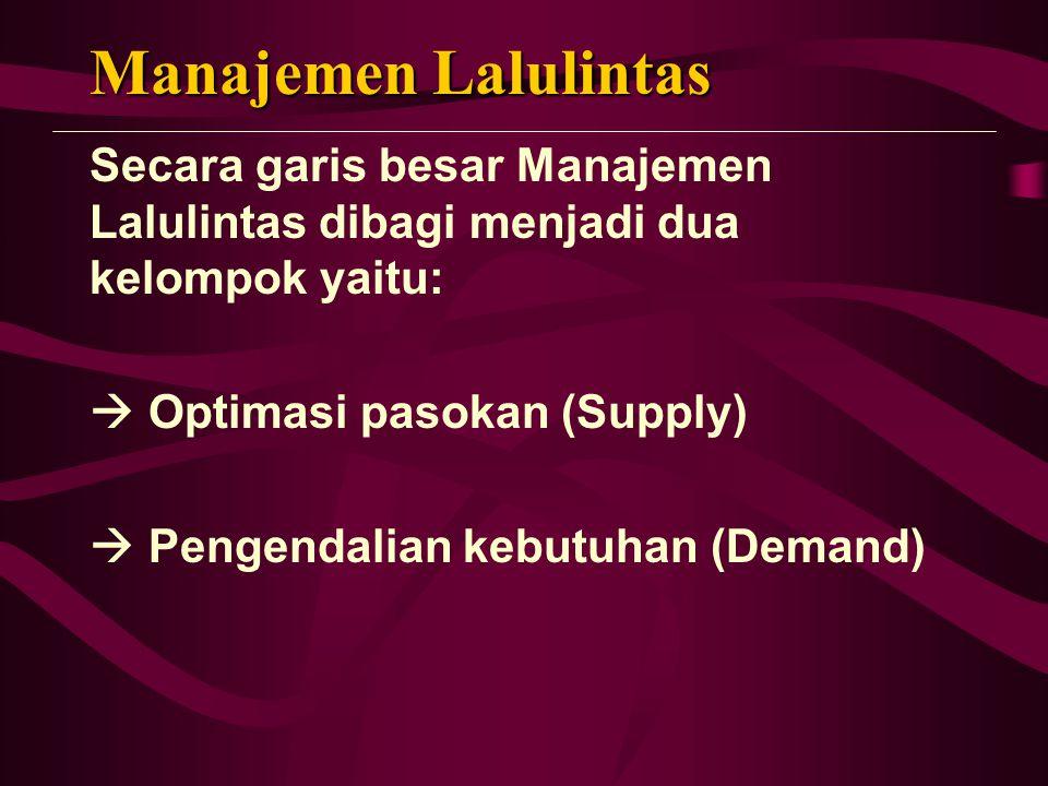 Manajemen Lalulintas Secara garis besar Manajemen Lalulintas dibagi menjadi dua kelompok yaitu:  Optimasi pasokan (Supply)