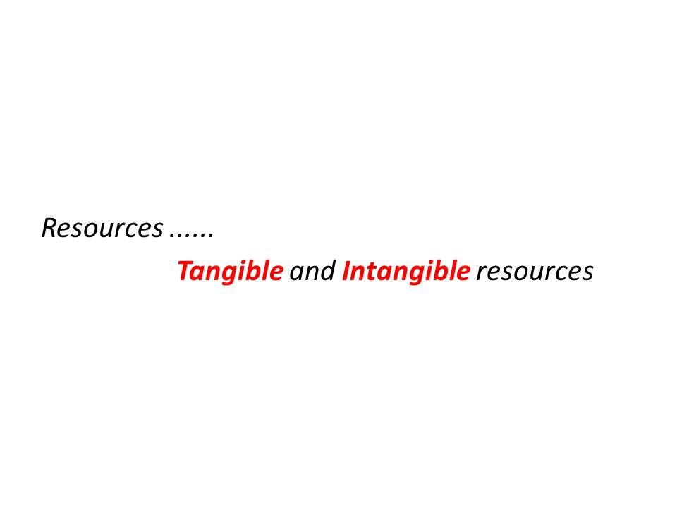 Resources ...... Tangible and Intangible resources