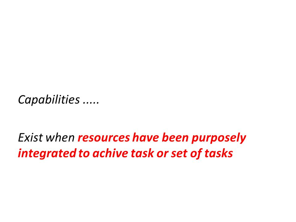 Capabilities .....