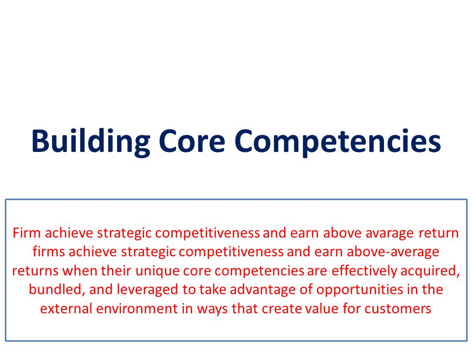 Building Core Competencies