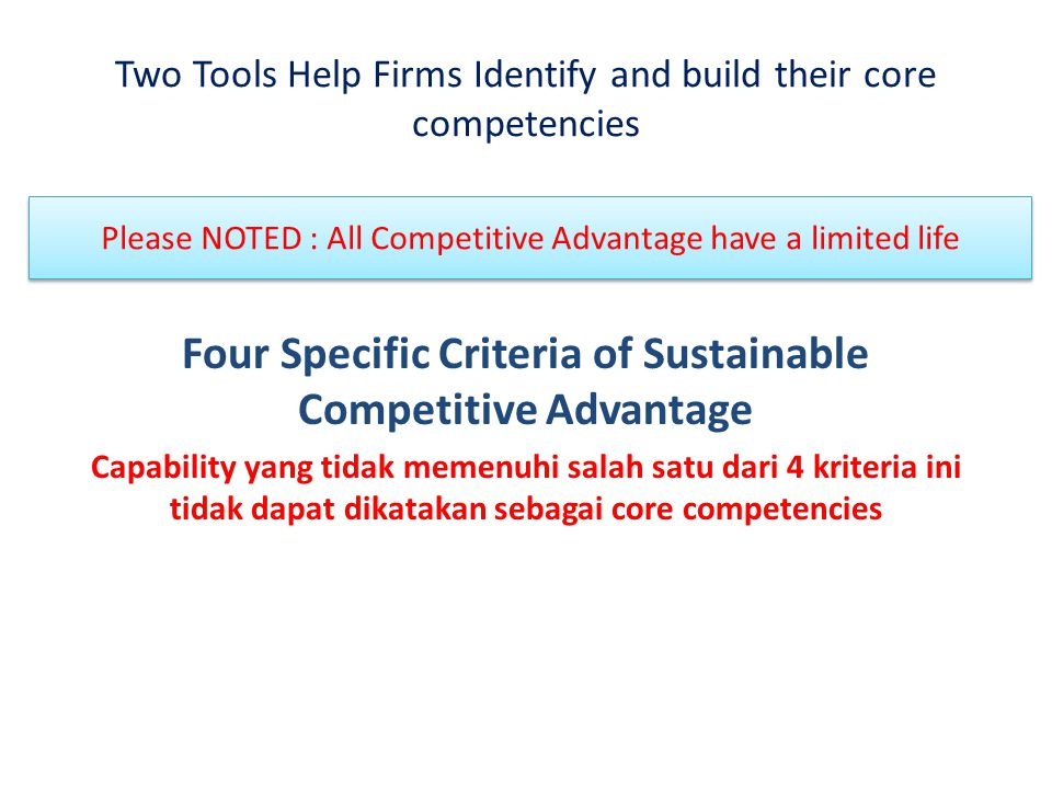 Two Tools Help Firms Identify and build their core competencies