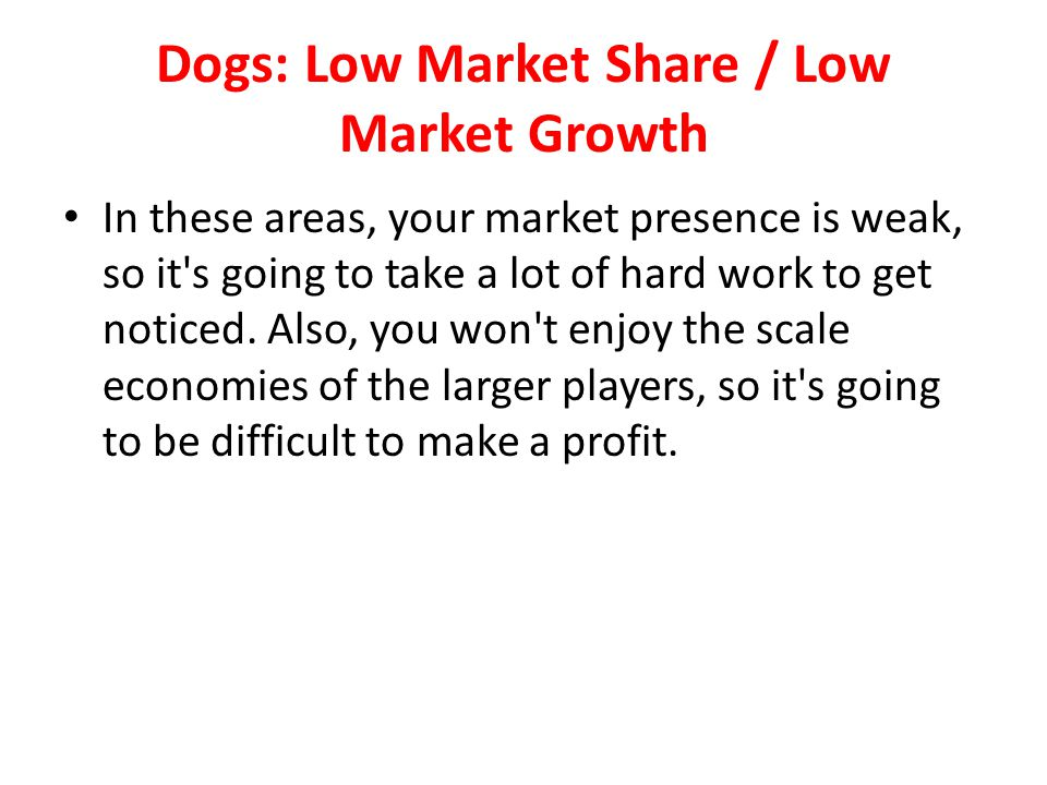 Dogs: Low Market Share / Low Market Growth