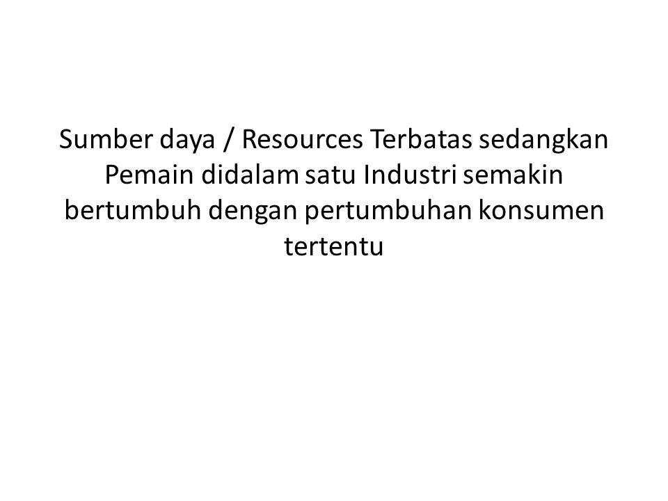 Sumber daya / Resources Terbatas sedangkan Pemain didalam satu Industri semakin bertumbuh dengan pertumbuhan konsumen tertentu